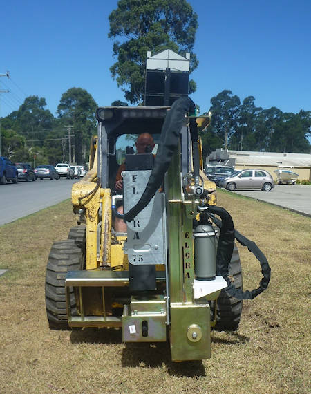 Skid Steer Post Driver with improved forward vision